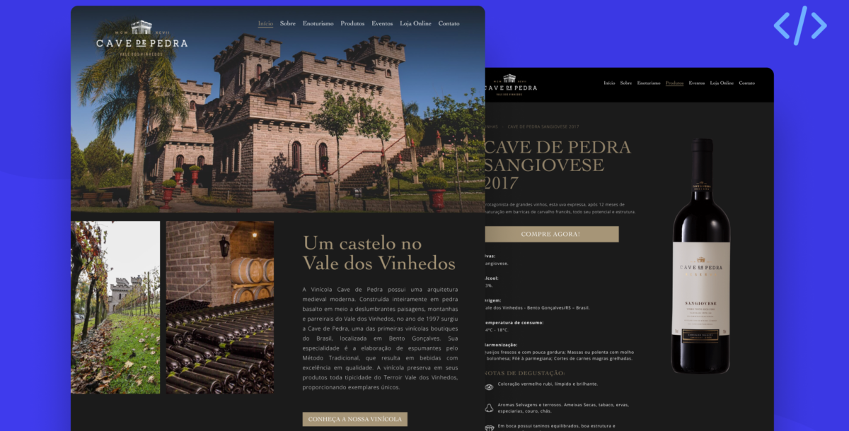Site Vinícola Cave de Pedra